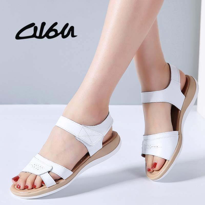 O16U 2018 Summer Sandals Shoes Women Flat Heel Genuine Leather Classic Casual Sandals T-strap Open Toe Beach Sandals Gladiator