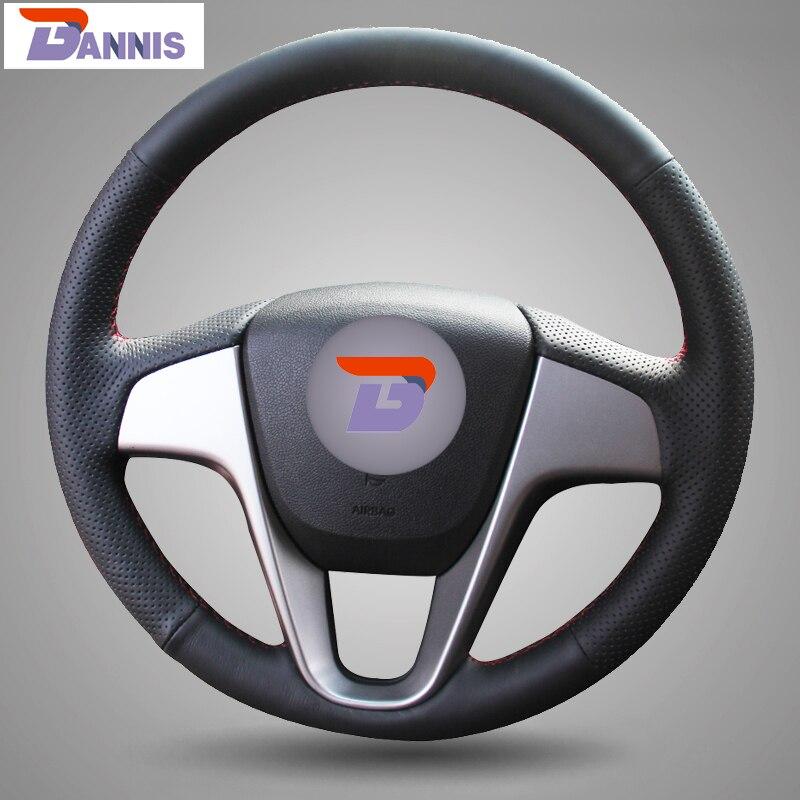 BANNIS Noir Cuir Artificiel BRICOLAGE à La Main Couvercle Du Volant cousu pour Hyundai Solaris Verna I20 Accent
