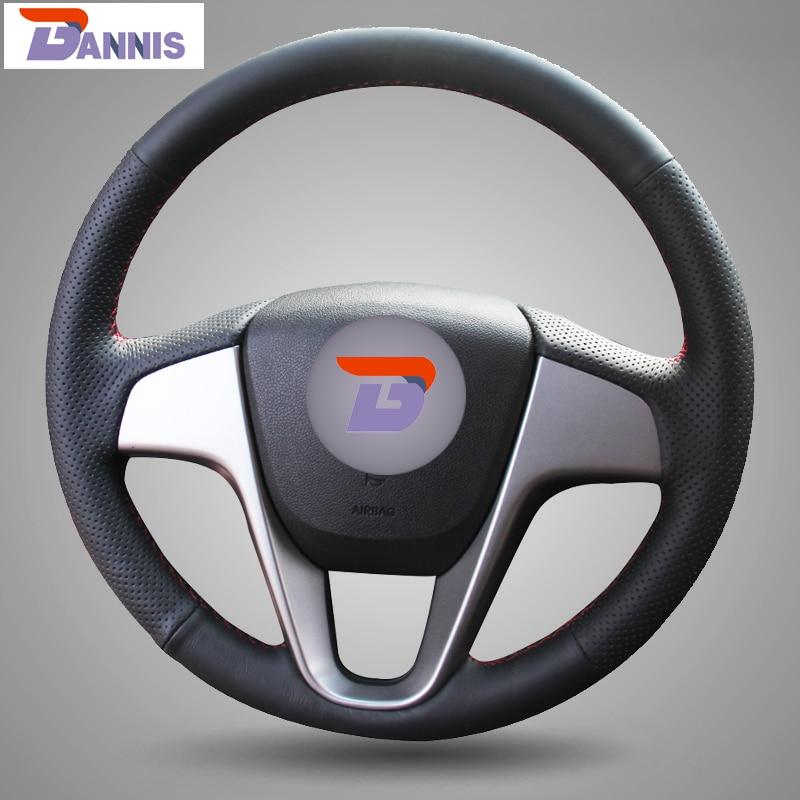 BANNIS Negro cuero artificial DIY cosido a mano cubierta del volante - Accesorios de interior de coche