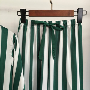 Image 5 - パジャマセット女性の高級サテンパジャマストライプ快適なホームウェア 4 個パジャマベスト + ブラジャー + コート + パンツシルクナイトウェア