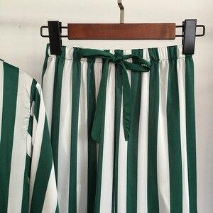 Image 5 - Pyjama set für frauen luxus satin nachtwäsche streifen komfortable hause tragen 4 stück pyjamas weste + bh + mantel + hosen seide nachtwäsche