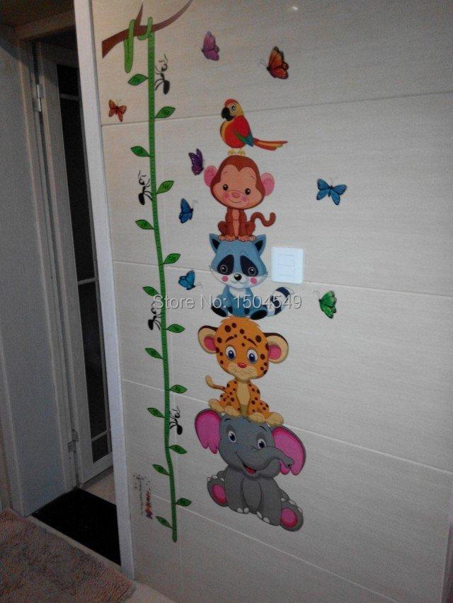 mariposas Cartoon kids Wall stickers small animal cartoon child height stickers height wall decals vinyl stickers home decor