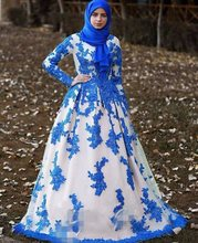 High Quality High Neck Muslim Evening Dresses with hijab Elegant Ball Gown lace appliques Prom Dresses vestido de festa