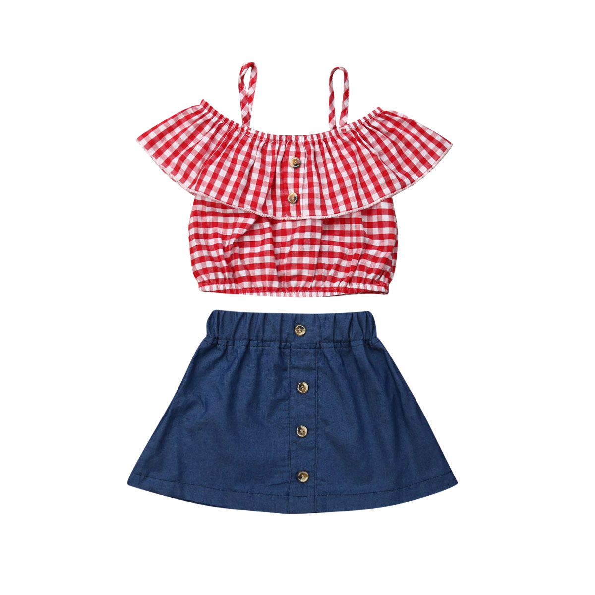 2Pcs Toddlers Baby Girls Outfits Plaid Off-Shouler Crop Top Shirt Ruffle Skirt Set