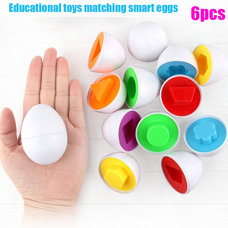 6 Pcs Children's Matching Shapes Simulation Eggs Educational Toy Smart Game Motor Skills M09