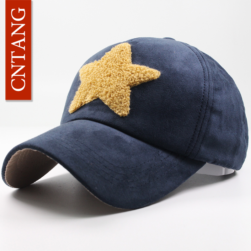 CNTANG Fashion Star Style Suede Baseball Cap For Men Snapback Winter Autumn Women Vintage Caps Brand Hip Hop Hat Casual Hats ht647 warm winter leather fur baseball cap ear protect snapback hat for women high quality winter hats for men solid russian hat