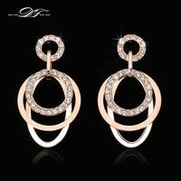 2014 New Ethnic CZ Diamond Party Drop Earrings Wholesale 18K Gold Plated Rhinestone Vintage Wedding Jewelry
