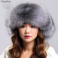 Woemn Winter Warm Fur Hat Real Fox Fur Bomber Hat Russia Raccoon Fur Cap Women Natural Fur Beanie Outdoor Genuine Leather Caps