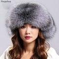 Woemn invierno cálido sombrero de piel real fox fur bomber sombrero de rusia mujeres natural de piel de mapache cap beanie tapas de cuero genuino al aire libre