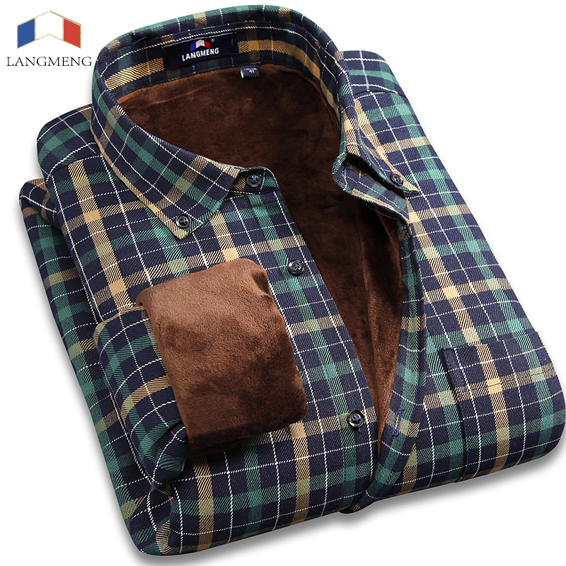 Langmeng 2017 Super Warm Casual Shirts brand quality male long sleeve men striped office dress shirts mens thermals for winter on AliExpress