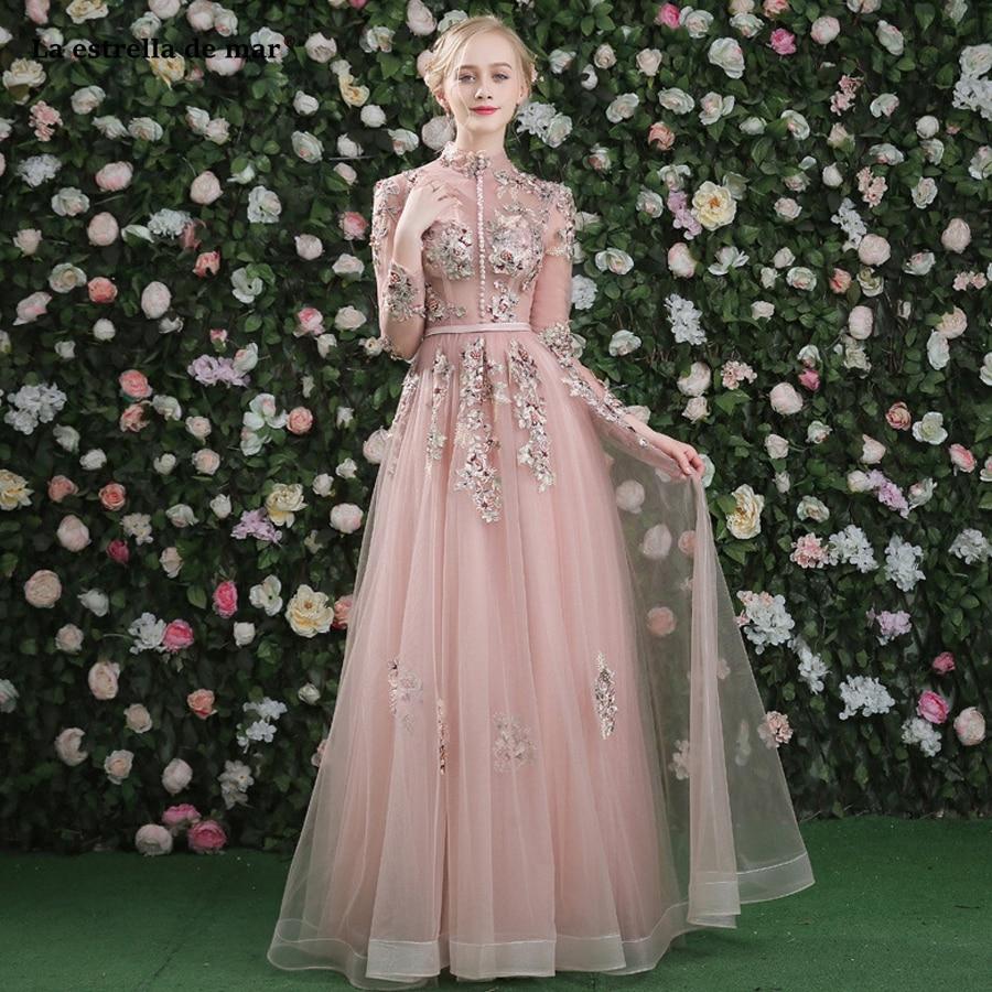 Vestido Boda Mujer Invitada High Necked Tulle Applique Beads Long Sleeve Back Open A Line Blush Bridesmaid Dresses Long Sukienka