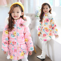 Free Shipping Girls Winter Lovely floral pattern Warm Coat Hooded thicker in the long section baby coat