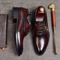 Handmade Custom Comfortable Men Pointed Toe Dress Shoes Genuine Low Leather Men's Wedding Shoes Zapatos De Hombre Loafers