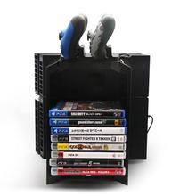 New Multifunctional Dock Charger Storage Stand Kit for Holding 12 Games/DVDS with Console Stand for Sony PlayStation4 PS4