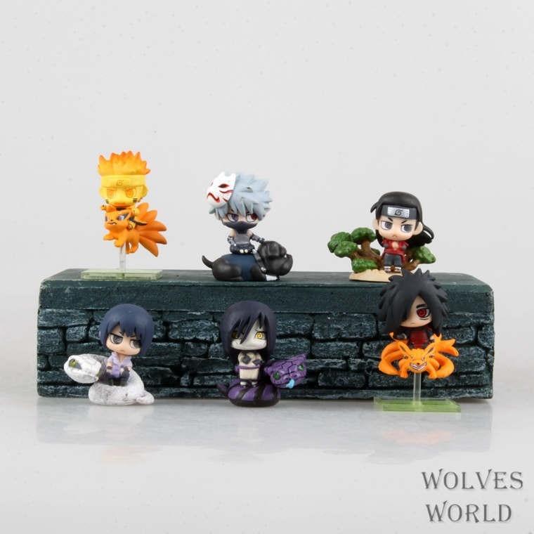 hot NEW 6PCS set Q version 5cm naruto Uchiha Sasuke Uchiha Madara Orochimaru action figure toys Christmas toy 15A in Action Toy Figures from Toys Hobbies