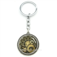 Vintage accessories Steampunk style keychain Gear Striped,Watch,Movement key holder ring jewelry husband,father's day gift T609