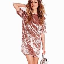 цены Women Elegant Dress Spring Summer Round Neck Short Sleeve Crushed Velvet Party Dresses