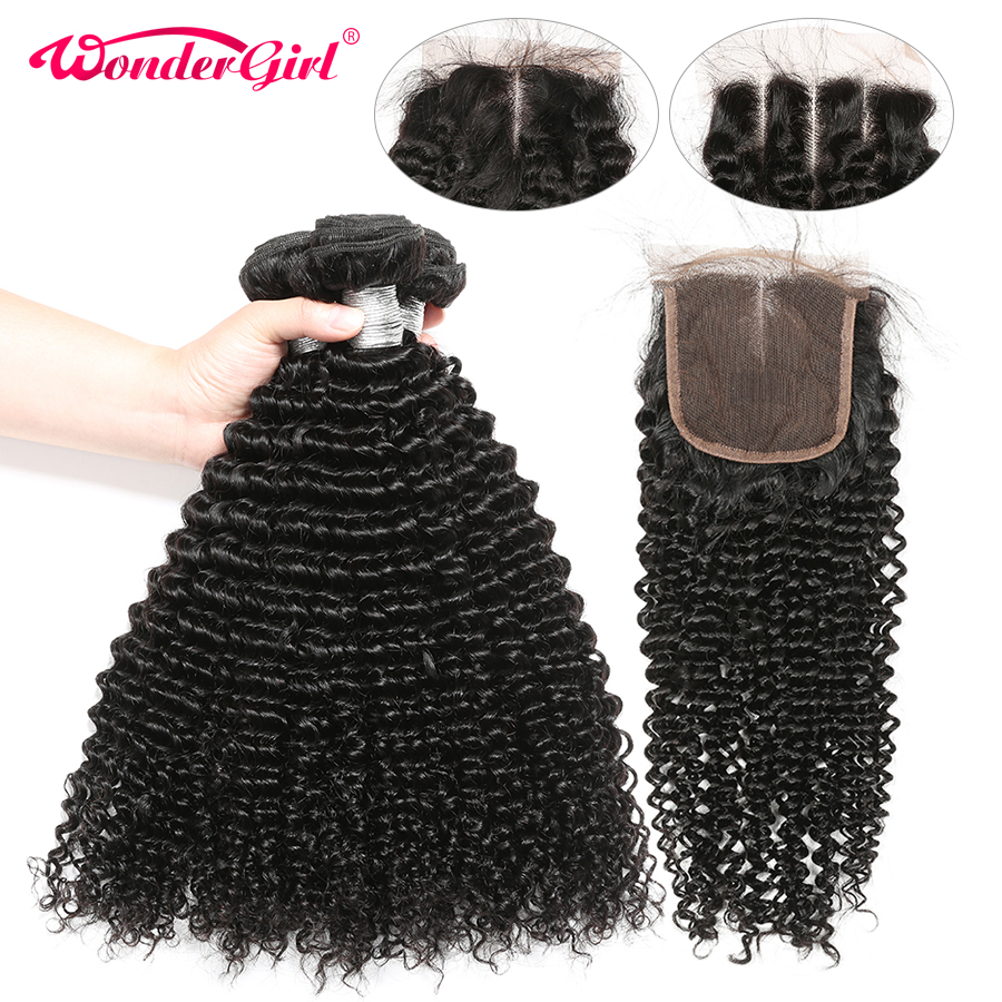 Afro Malaysian Kinky Curly Bundles With Closure 100 Human Hair Bundles With Closure Remy Hair No