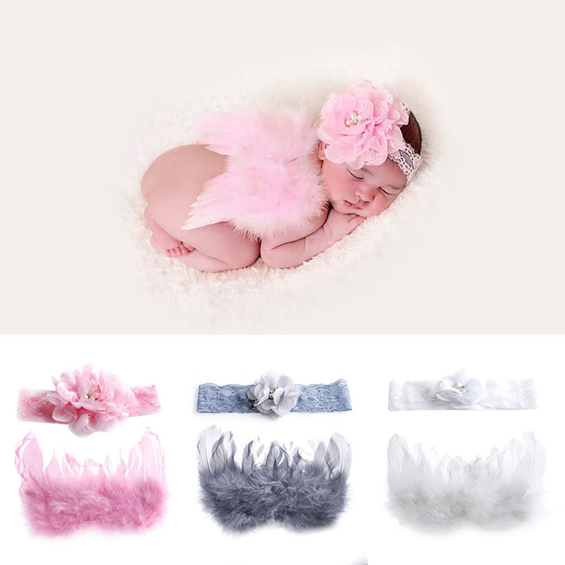 New Newborn Baby Flower Headband+Wing Prop Outfits Costume Photo Photography Set newborn baby photography props infant knit crochet costume peacock photo prop costume headband hat clothes set baby shower gift