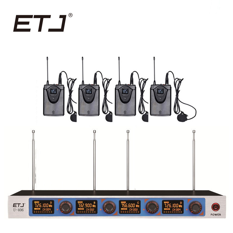 ETJ Wireless Microphone System Professional Microphone 4 Channel Dynamic 4 Headset Microphone + Karaoke U406 free shipping etj u 203 wireless microphone with screen 50m distance 2 channel handheld mic system karaoke wireless microphone