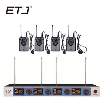 ETJ Wireless Microphone System Professional Microphone 4 Channel Dynamic 4 Headset Microphone + Karaoke U406