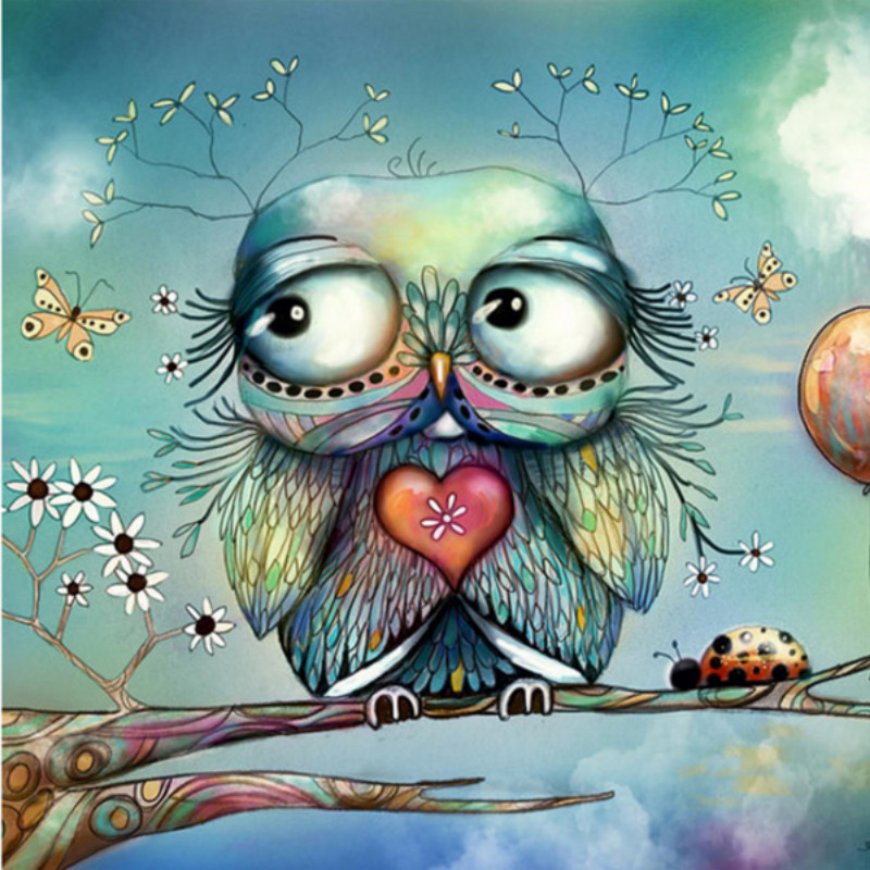 Best Buy Owl 5d Diy Daimond Painting Cartoon Cross Stitch