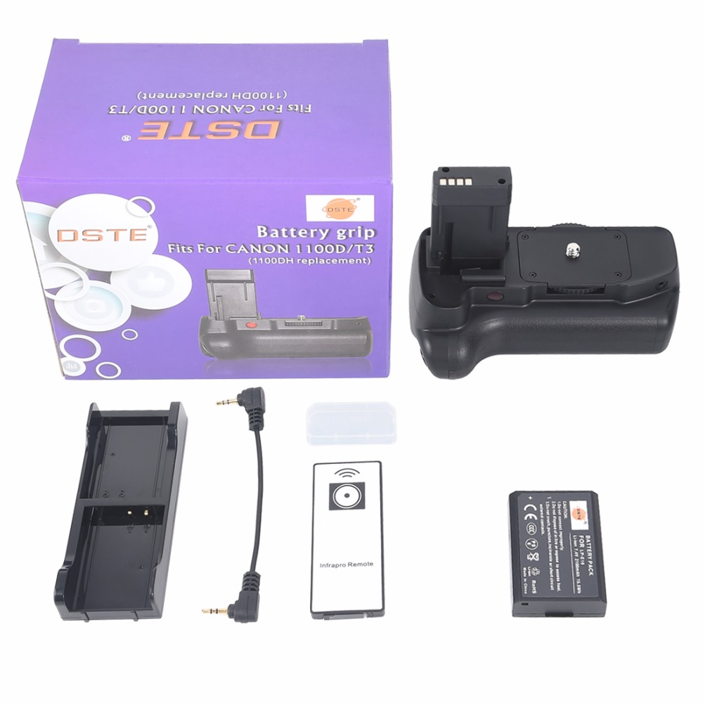 DSTE BG-E10 poignée de batterie verticale + télécommande + batterie de LP-E10 pour Canon 1100D 1200D 1300D Kiss X50 rebelle T3 T5 T6