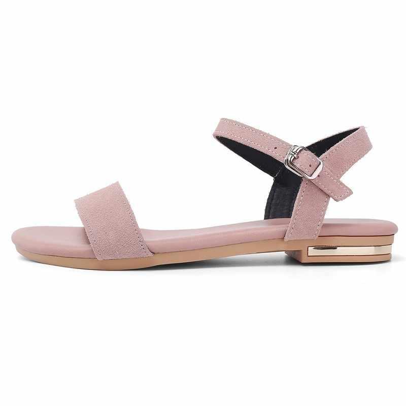 Замшевые сандалии на плоской подошве; женские летние новые сандалии из натуральной кожи на плоской подошве; A245; Повседневная Женская Удобная обувь с пряжкой; цвет розовый, черный