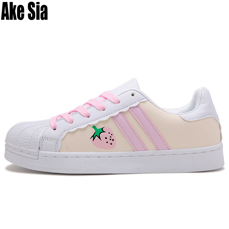Lady Fashion Women Cartoon Strawberry Pattern Sapatos Students Flat Casual Shoes Zapatos Feminino Chaussures Mujer Zapatos A606