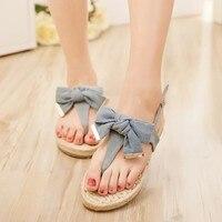 Korean Style Women Summer Flats Bowknot Denim Ankle Wrap Flip Flops Summer Lady Peep Toe Jean