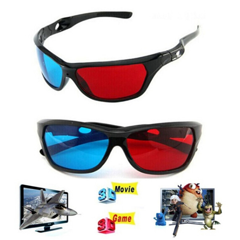 Universal 3D Plastic Glasses Red Blue Black Frame For Dimensional Anaglyph TV Movie DVD Game 3d glasses universal black frame red blue cyan anaglyph 3d glasses 0 2mm for movie game dvd