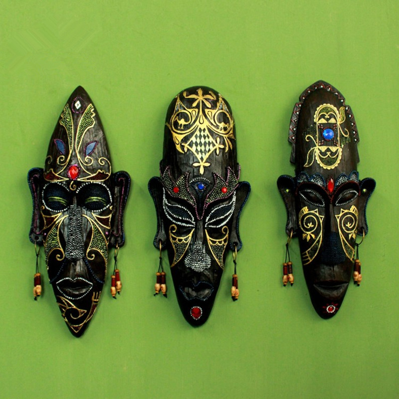 african figures mask hanging creative household ktv bars porch decorate resin crafts vintage religious home decoration - Religious Halloween Crafts