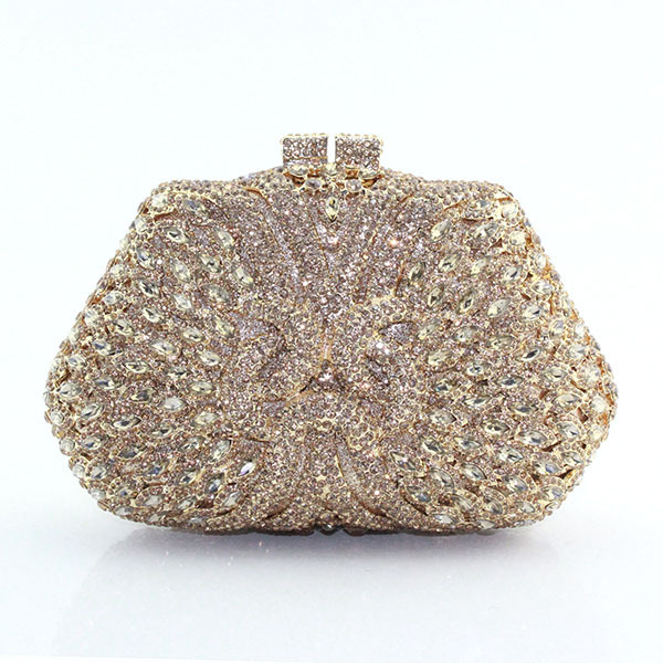 2017 Fashion Handmade Box Shape Crystal Indian Bridal Wedding Clutch Women Evening Bags