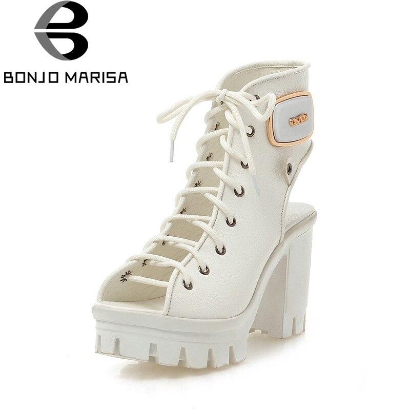 BONJOMARISA 2018 Summer High Heels Women Gladiator Sandals Big Size 34-42 Elegant Decorating Lace Up Platform Shoes Woman