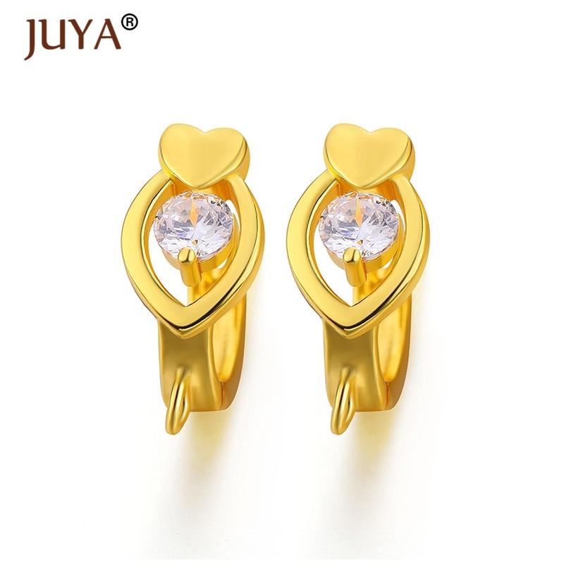 making earrings jewelry findings high quality copper metal CZ Crystal heart gold silver earring hoop hooks jewellery making