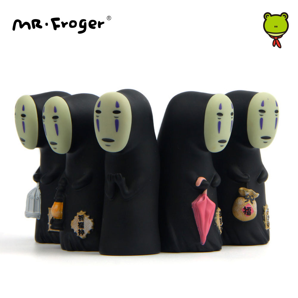 Mr.Froger 8.8cm Mini Faceless Man Vinyl Figures POP Miniature Garden Decorations Set Cute Toys No Face Spirited Away Japan Anime confronting a faceless enemy