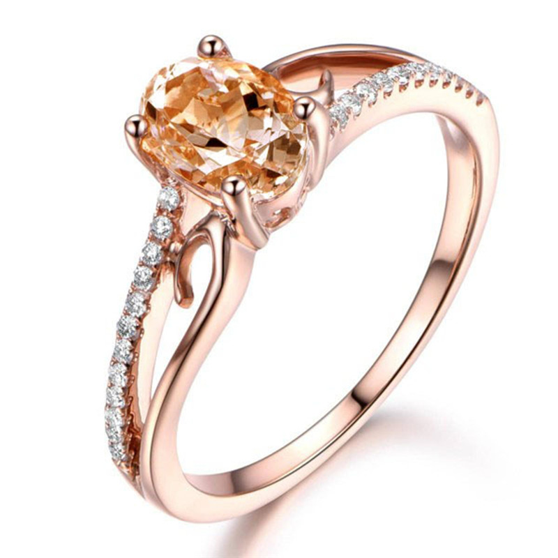 GS Small Oval Gem Rose Gold Color Wedding Rings For Women ...