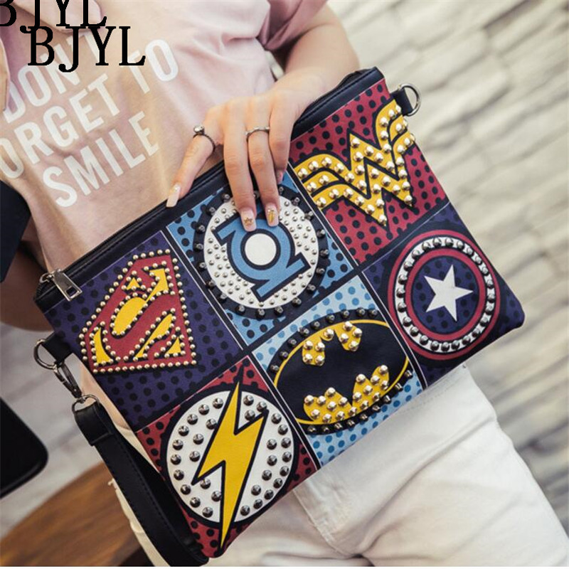 Super Hero Envelope Women Bag Shoulder Bag Female Rivet Totes Girl Messenger Handbag