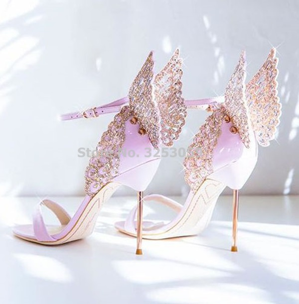 High-end Women Pink Butterfly Sandals Metal Stiletto Heel Metallic Cut-outs Pumps Bling Bling Crystal Celebrity Wedding Shoes