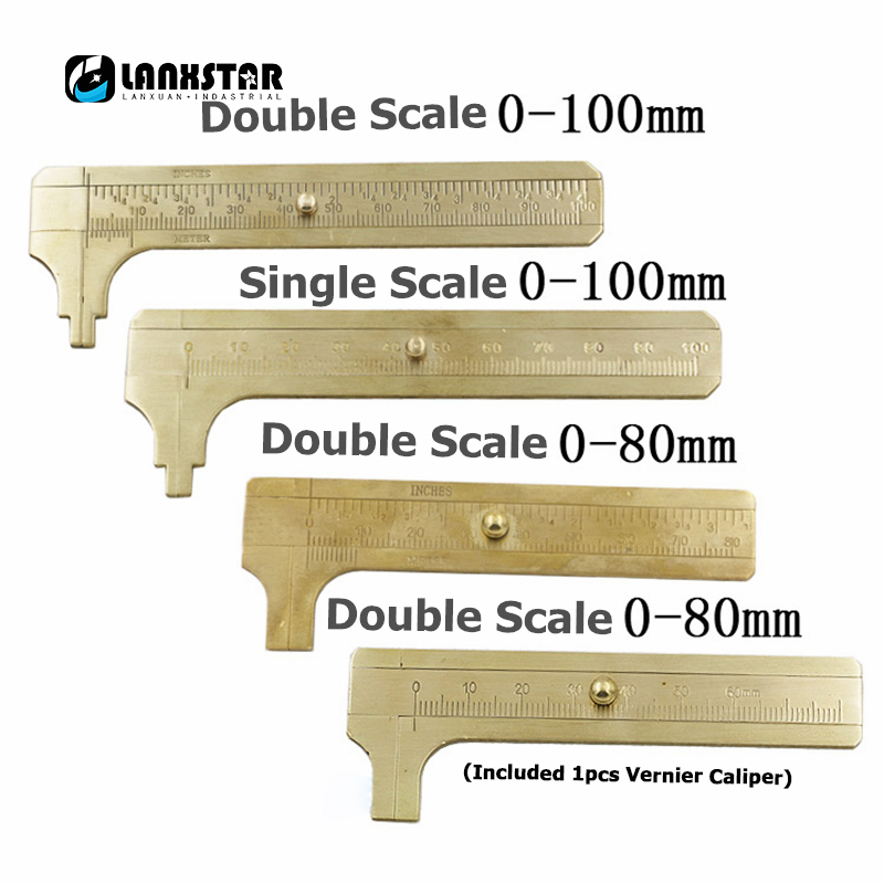 Classical Mini Brass Caliper Vernier Scale Copper Measuring Ruler Durable Double Scales 80/100mm Portable Retro Pocket Calipers картридер внешний transcend ts rdp8k cf mmc sd sdhc microsdhc msduo msmicro черный
