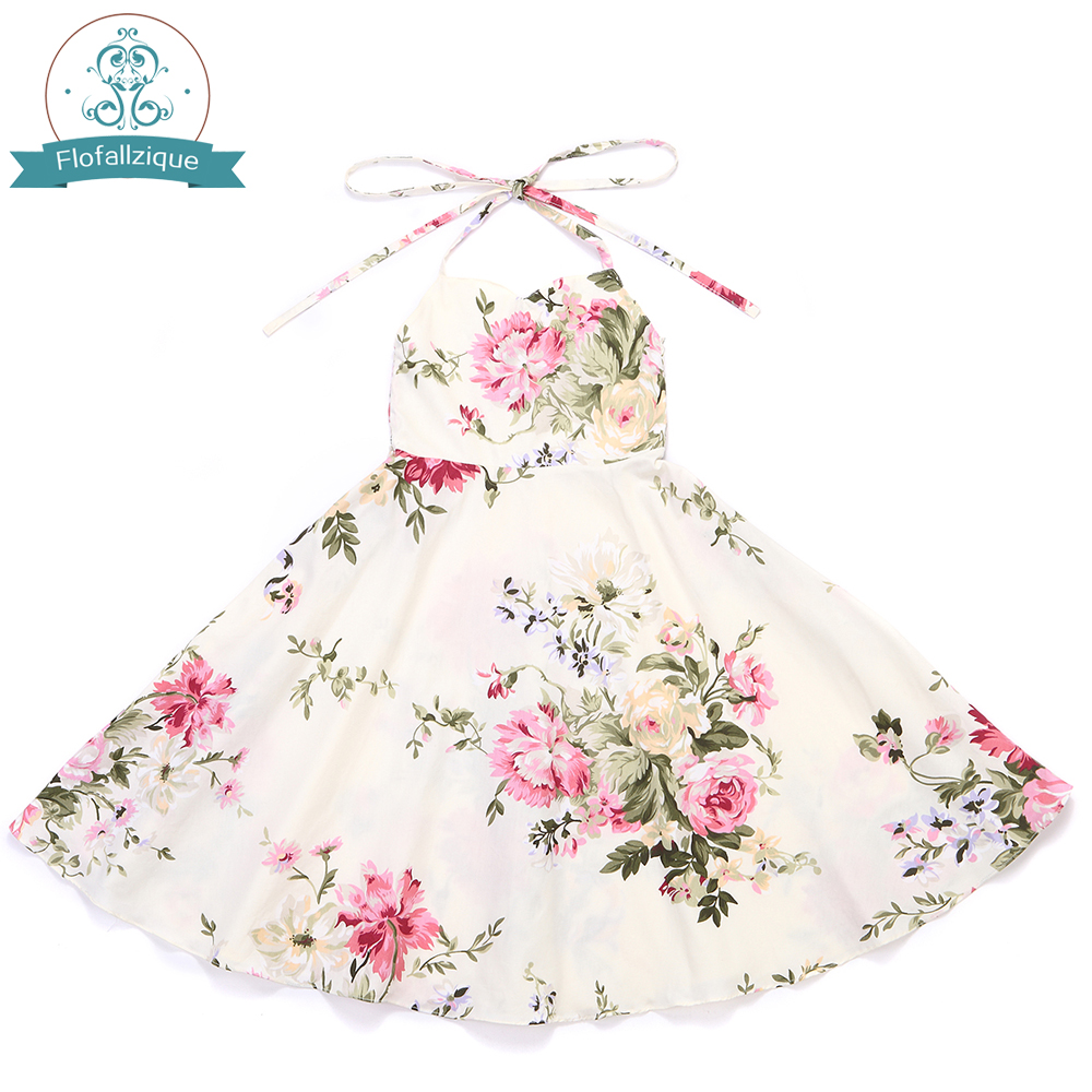 Flower     Girl     Dress   Vintage Rose Floral Print Backless   Dress   2018 Summer Princess Wedding Party   Dresses   Children clothes Size 1-8Y