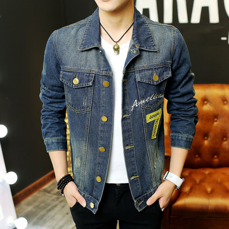2018 Mens Casual Single Breasted Denim Jacket Mens Jeans Jackets and Coats High Quality Blue Mens Vintage Jeans Jacket