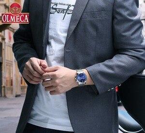 Image 3 - Olmeca relógio militar relogio masculino relógios à prova dstainless água aço inoxidável moda cronógrafo relógio de pulso relógios para homem azul