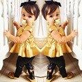 2016 детей девочек детская одежда одежду устанавливает костюмы 2 шт. с коротким рукавом золотой рог подкладки верхней одежды костюме ну вечеринку