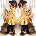 2016 Children Girls Kids Clothing Clothes Sets Suits 2 Pcs Short Sleeve Golden Horn Unlined Upper Garment of Leisure Suit Party