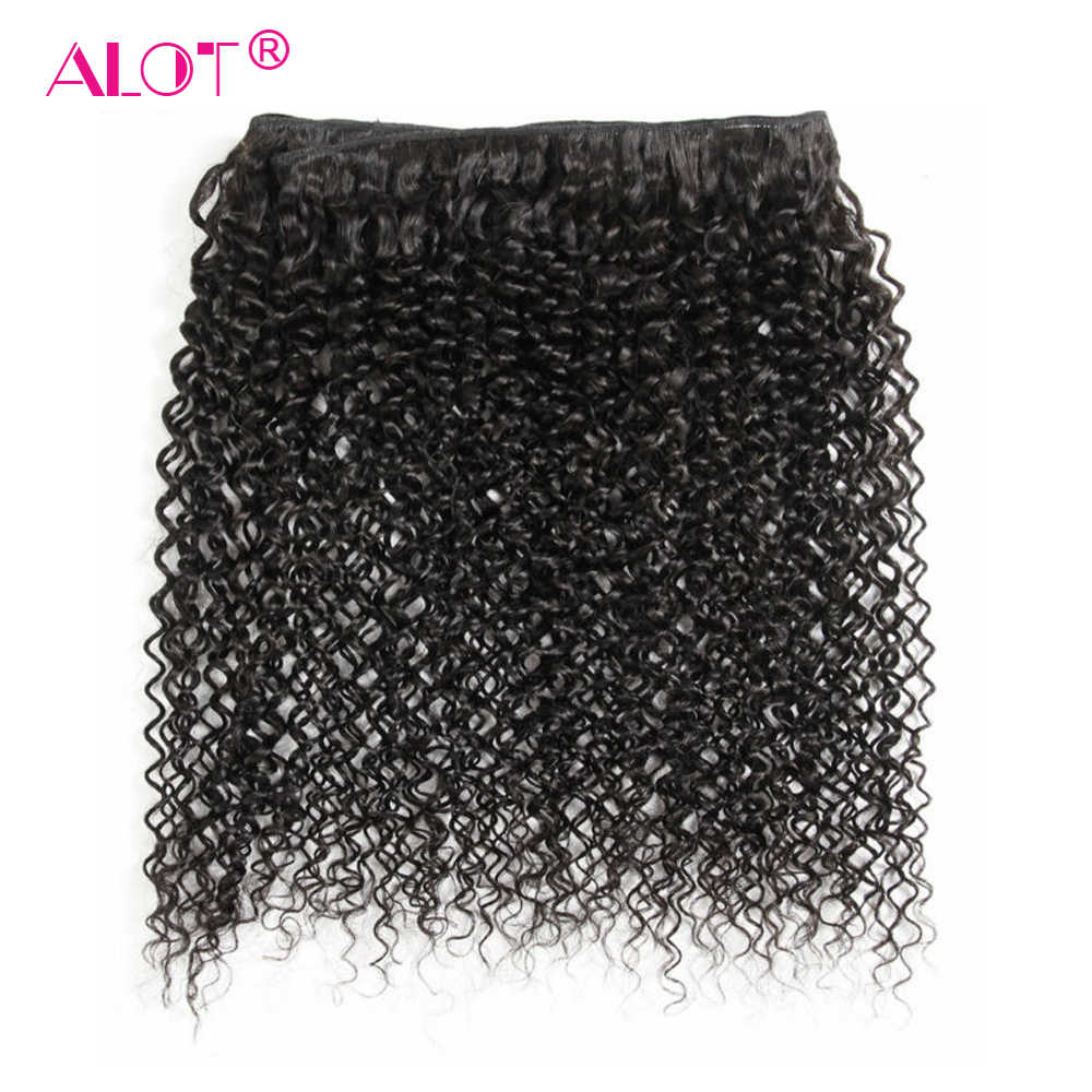 ALOT Hair 100% Human Hair Brazilian Kinky Curly Hair Weaving 3 Bundles Non Remy Hair Extensions Beauty Weave Natural Color