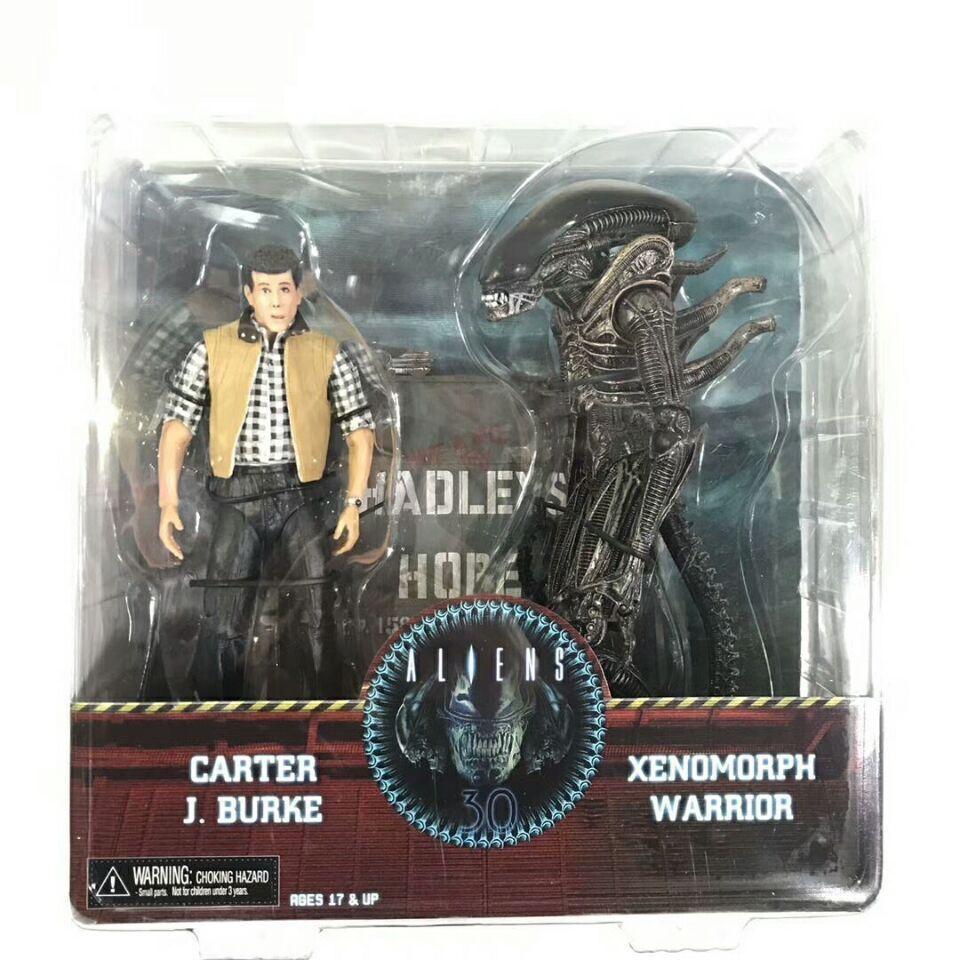 NECA Aliens Hadleys Hope Carter J. Burke VS Xenomorph Warrior Action Figures Toy Anime Figure Collectible Model Toy