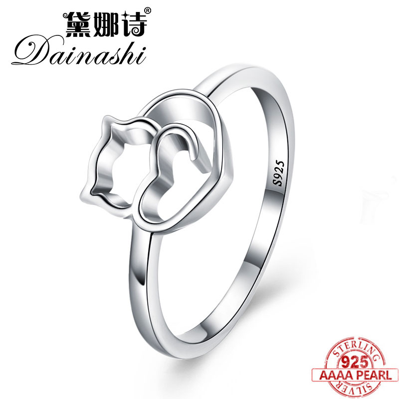 Dainashi 925 Sterling Silver Ring Cute Little Cat Heart Finger Ring Beautiful Finger Ring For Women Sterling Silver Jewelry Gift