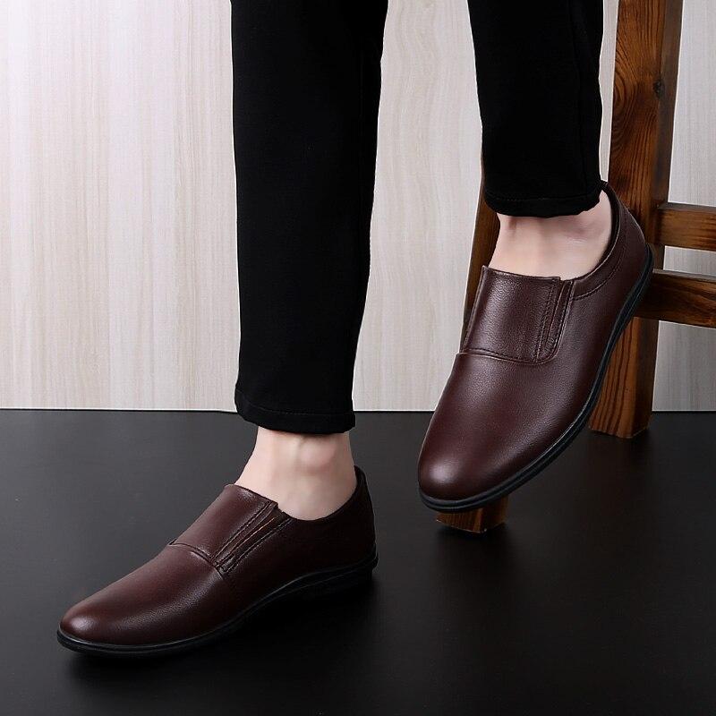 Glissement Respirant Casual Arrivée brown Plus Black De Conduite Mou Hommes Mocassins 45 Populaires Nouvelle Size37 Cuir Mode En Chaussures Fond 0gzxwn8