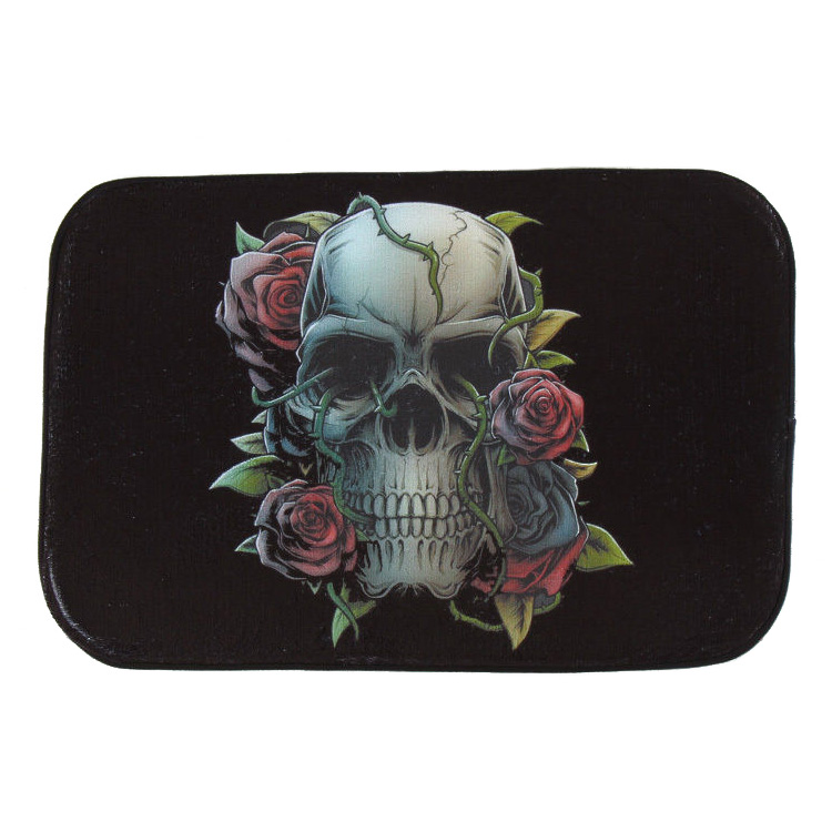 GSFY-Home Decoration Skull Rose Rug Carpet Bedroom/Bathroom Floor Mat 40*60cm Black+red
